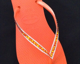 Orange Havaianas Slim Flip Flops w/ Swarovski Crystal Bling Rhinestone Guava Tangerine Red Fire Opal Jewels Custom Beach Shoes Glass Slipper
