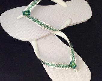 Custom Crystal Flip Flops High Society Erinite Green Rocks w/ Swarovski Custom Havaianas flat or Cariris Wedge Heel Beach Thong Sandal Shoes