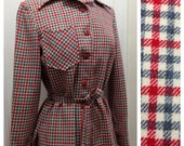Vintage Pendelton in Red and Gray Plaid / Small
