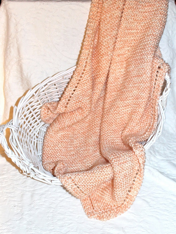 Soft Peach and Cream Knit Baby Blanket