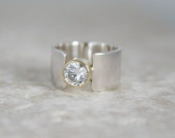New Dawn alternative engagement ring lab created diamond ethical conflict free, 18ct gold bezel ring wide silver band, custom Handmade UK