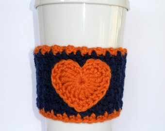 Crochet Heart Coffee Cup Cozy Dark Blue and Orange