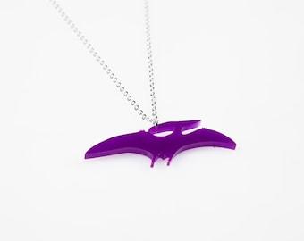 Medium Pterodactyl Dinosaur Necklace. Dinosaur Jewellery. Laser Cut Dinosaur. Dinosaur Pendant. Kitsch Necklace. Perspex. Novelty necklace.