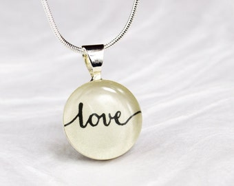 Love Necklace, Girlfriend Gift Jewelry, Love Jewelry, Gift for Mom, Gift for Her, Inspirational Jewelry, Word Jewelry, Valentine's Day Gift