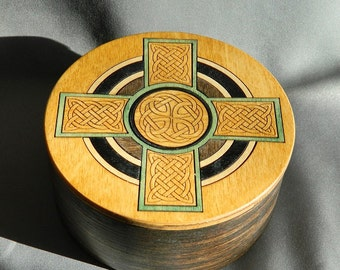 Celtic Cross Inlay - Round Hardwood Box - Handmade, laser etching, brown, green, Celtic Knot