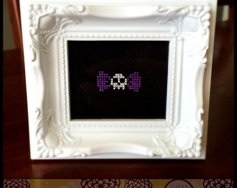 Skull Bow Printable Cross Stitch Pattern ( Printable PDF) - Immediate Download from Etsy - Purple Black Punk Bones EMO Unique Needle Craft
