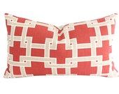 Faded Brick Red and Tan Geometric City Square Lumbar Pillow Cover- Kravet Fabric