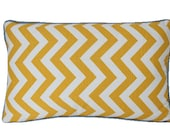 Yellow Cheveron Decorative Lumbar Pillow Cover with Grey Welting