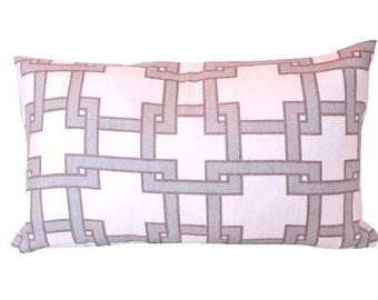 Light Blue Decorative Designer Lumbar Pillow in City Square