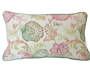 Lumbar Pillow Cover with Block Print Design, Green Piping