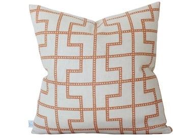 Orange Bleecker Geometric Pillow Cover- Schumacher fabric