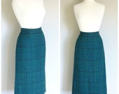 RESERVED FOR SHEILA/Vintage Jade Green Plaid Wool Skirt/size Small-Medium