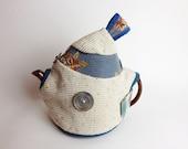White light Blue Teapot Cozy Antique metal button Tapestry Magnetic Closure Medium size