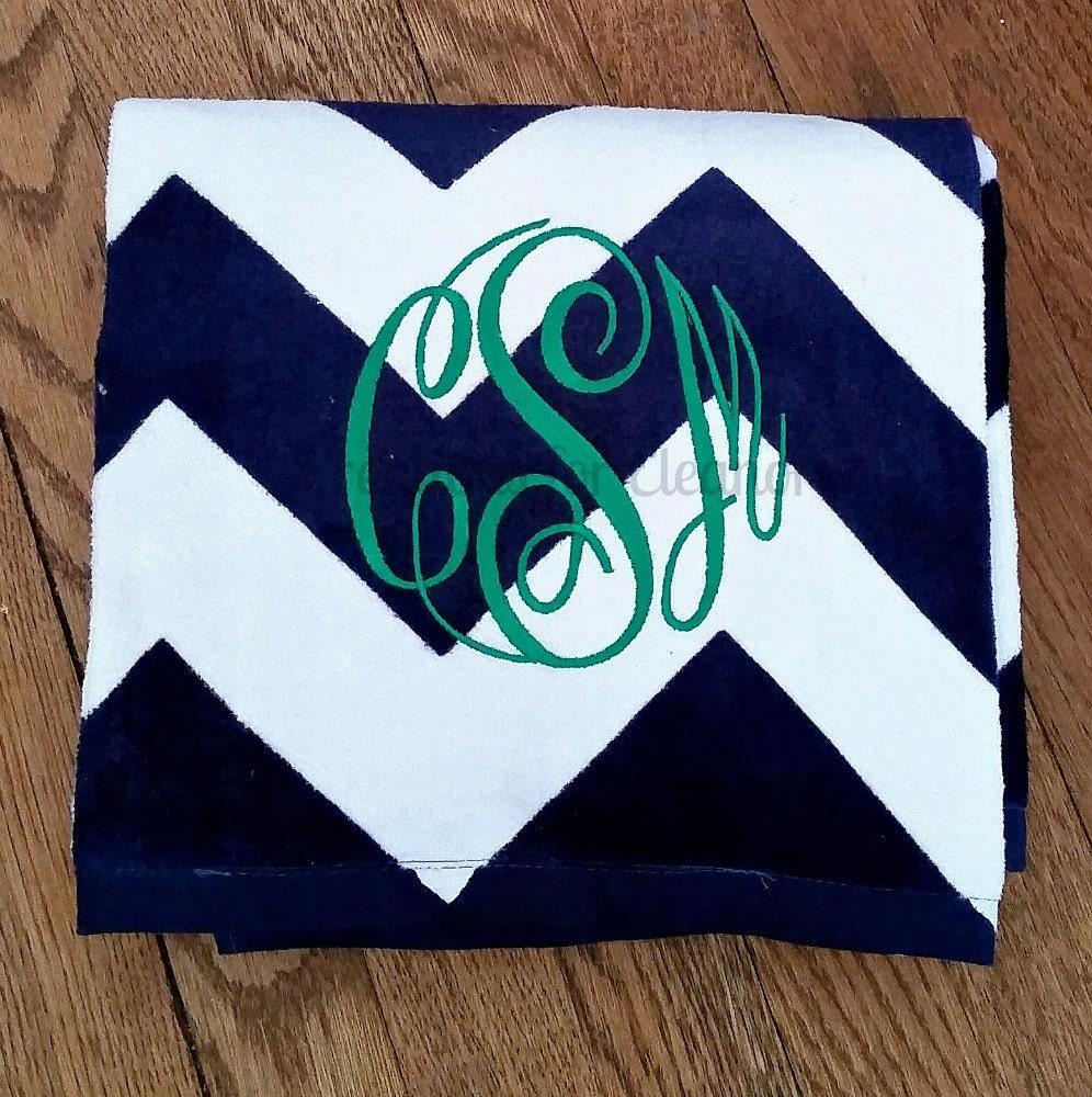 Initial Towels: Monogrammed Beach Towel Chevron Beach Towel Monogram Towel