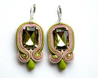 Oil Drop - Dangle soutache earrings