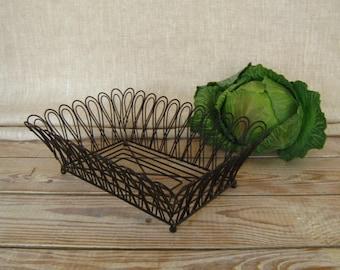 Vintage wire basket   wire decorative basket   easter basket   metal basket   black wire basket   storage basket   rectangular wire basket