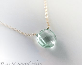 Solid 14k Green Amethyst necklace, Large natural genuine gemstone Prasiolite solitaire, statement, Birthstone Gift , yellow or white gold