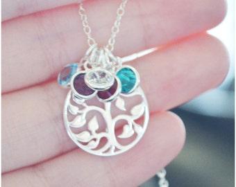 Tree of Life Necklace - Swarovski Birthstone Necklace - Sterling Silver Mommy Jewelry - Family Tree Personalized Jewelry - Grandma Necklace