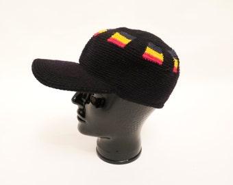 Vintage Crochet Rasta Cap With Brim