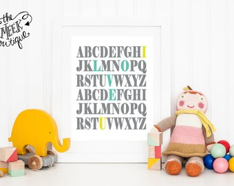 INSTANT DOWNLOAD, ABC, I Love You, Typography, Printable, No. 87