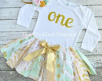 Pink Mint Gold Birthday Pink Mint Gold Tutu 1st Birthday Tutu 1st Birthday Outfit Girls 1st Birthday Shabby Chic Baby Girl Birthday Skirt