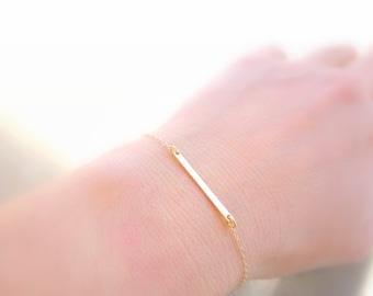 Thin Gold Bracelet Gold Bracelet, Dainty Gold Bracelet 14K Gold Filled Bracelet Delicate Gold Jewelry, Dainty Gold Jewelry Gold Bar Bracelet