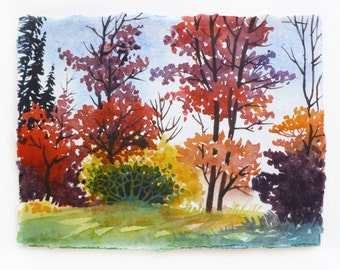 Watercolor Landscape, Colorful Landscape, Fall Trees, Autumn Trees, Watercolor Illustration, Tree Illustration, Trees in Fall, Bright Leaves