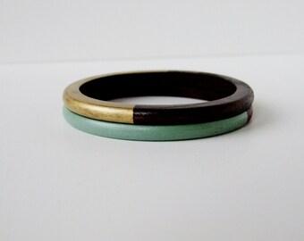 Geometric  Skinny Wood bangle  Set Gold and Mint Green.