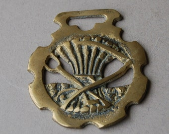 Vintage English horse brass Wheat sheaf horse brass Wall hanging
