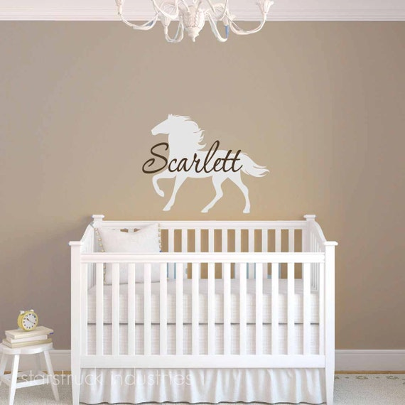 Personalized girls name horse wall decal horse theme nursery like this item negle Choice Image