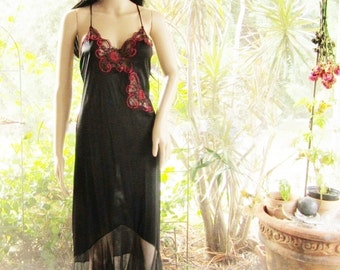 Black satiny and sheer  nightgown accented with black and red lace