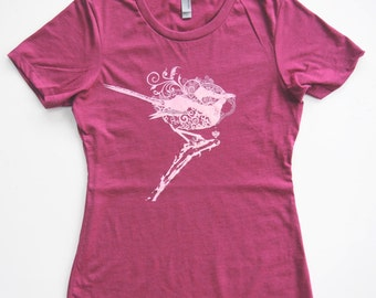 Fairy Wren in Pink Cloud on a Lush Berry Fuchsia Pink Soft  Cotton Screen Printed Tee