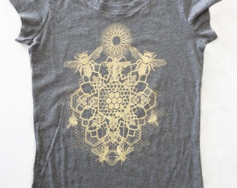 Bee Mandala Printed in Honey Yellow on a Womens Medium Gray Bella Soft 100% Cotton Slim Fit Screen Printed T-Shirt