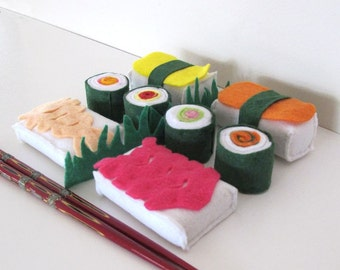 Japanese Felt Food Set, Sushi, Rice, Felt Play Food