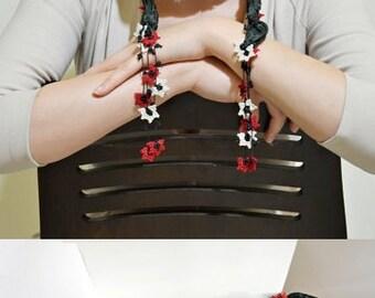 Silk Wrap Scarf, Emerald Silk Necklace, Crochet Beaded Wrap Necklace, Oya Skinny Scarf, Flowers Foulard, Jewelry Scarf, Women's Gift,