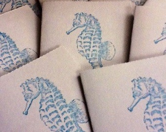 20 Hand made cards: Marine Mini Cards - Seahorse - Nautical - Mini Envelopes - handmade - thank you cards - sea life -  hand stamped