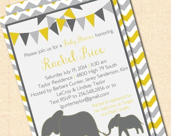 DIY Printable Mama and Baby Elephant Invitation - Neutral - Yellow and Gray - Birthday or Baby Shower Digital Design