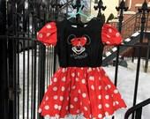 Minnie Mouse Vintage Disney Store Red White Black Polka Dot Petticoat Dress Size 6 Girls