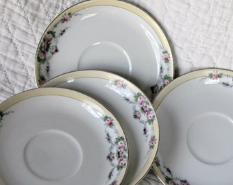 Vintage Meito China Saucer Buffalo Pattern Hand-Painted Japan Crown Logo--Set of 4