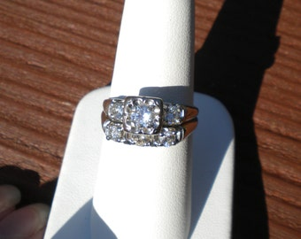 1950's 14k Gold and Diamond wedding set