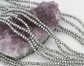 Lot of 5 strands 3x2.5mm Metallic Silver Chinese Glass Rondelle Loose Spacer Beads 100 beads/strand (BH5196)