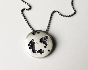 Large Moon Pendant - Recycled Sterling Silver Oxidized with Matte Finish