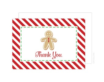 Gingerbread Thank You Cards (Gingerbread Folded Note Card, Baby Shower Thank You, Gingerbread Notecard, Gingerbread)