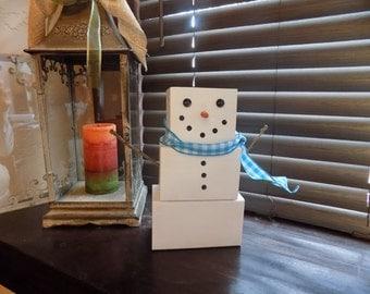 Snowman Figurine Christmas Decor Wood Block Set Winter Decor