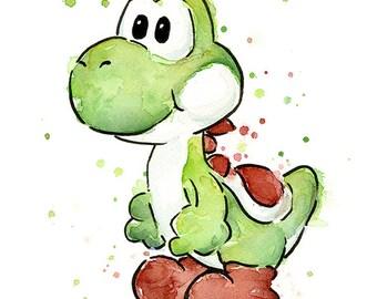Yoshi Watercolor Art Print, Yoshi Print, Yoshi Art, Yoshi Painting,  Geek Art, Videogame Art, Nintendo Mario Painting, Gaming Decor