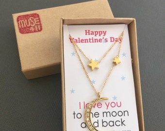 Gold Star Necklace, Star and Crescent Moon Necklace, I love you to the moon and back, layering necklace, Valentine's gift Gold Moon necklace