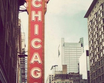 Chicago photograph, fine art, travel photography, Illinois picture, retro, city, dreamy Chicago photo - Chicago Theatre