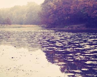 Autumn Stillness - landscape photography, fall decor, neutral color, dreamy, nature, fine art photograph, vertical print, wall art