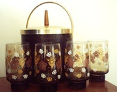 """4 Large Drinking Glasses Set Smoked Glass; Gold White Brown; Heavy Weighted Bottom; 5 1/2"""" Stacking Drinkware; Mod Bar Highball Tall Barware"""