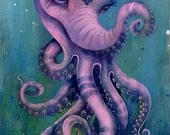 The Octophant - Large Fine Art Print, 11x14inch size, fine art print, art by phresha, elephant art, octopus art, honeycomb, big eye art